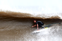 Side view of being barreled